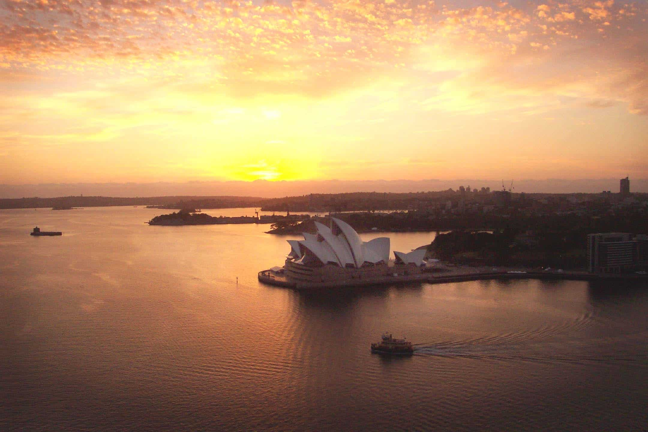 Dawn Climb with a view of the Sydney Opera House.