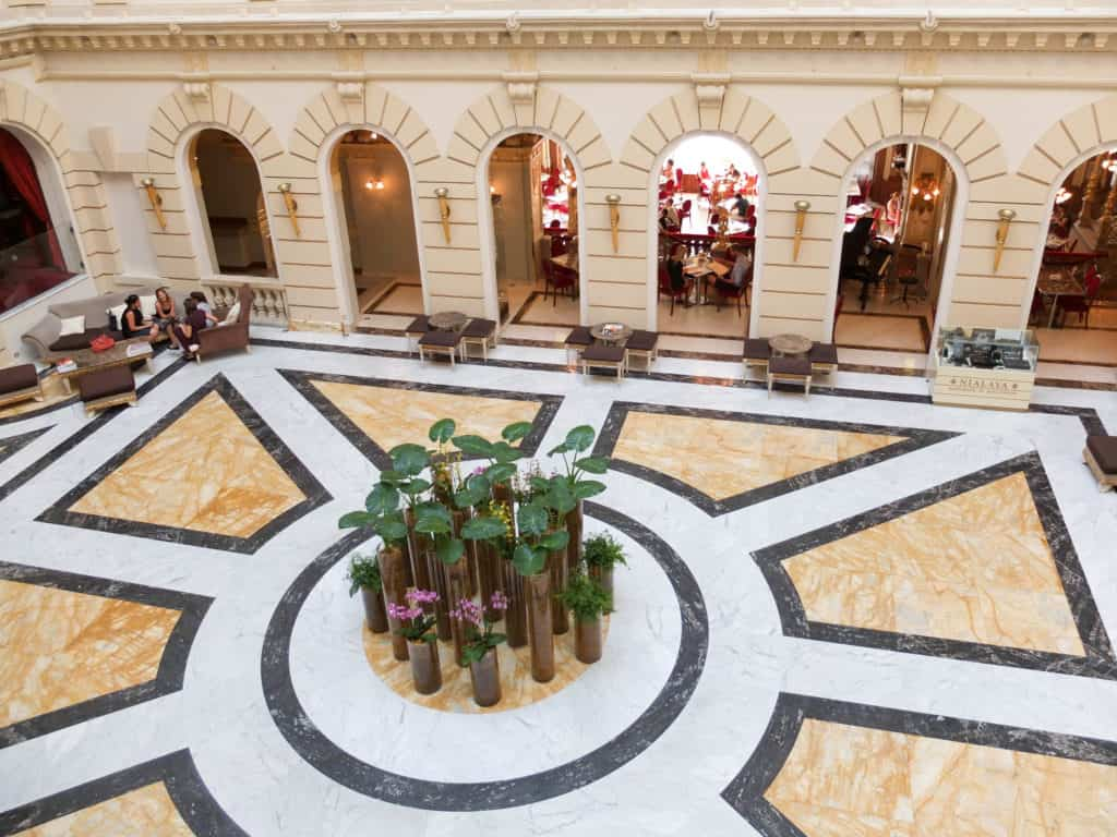 The hotel's stylish atrium.