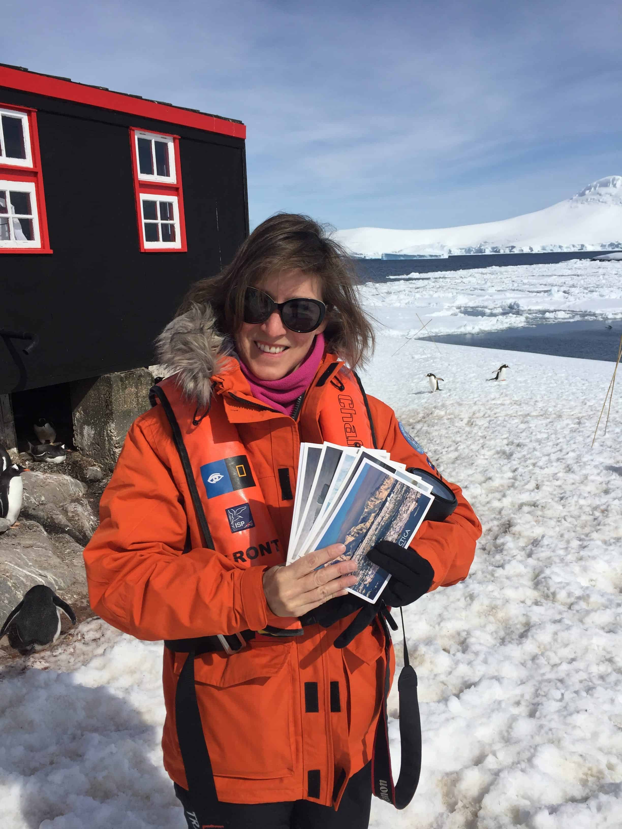 The writer dispatching postcards from Port Lockroy