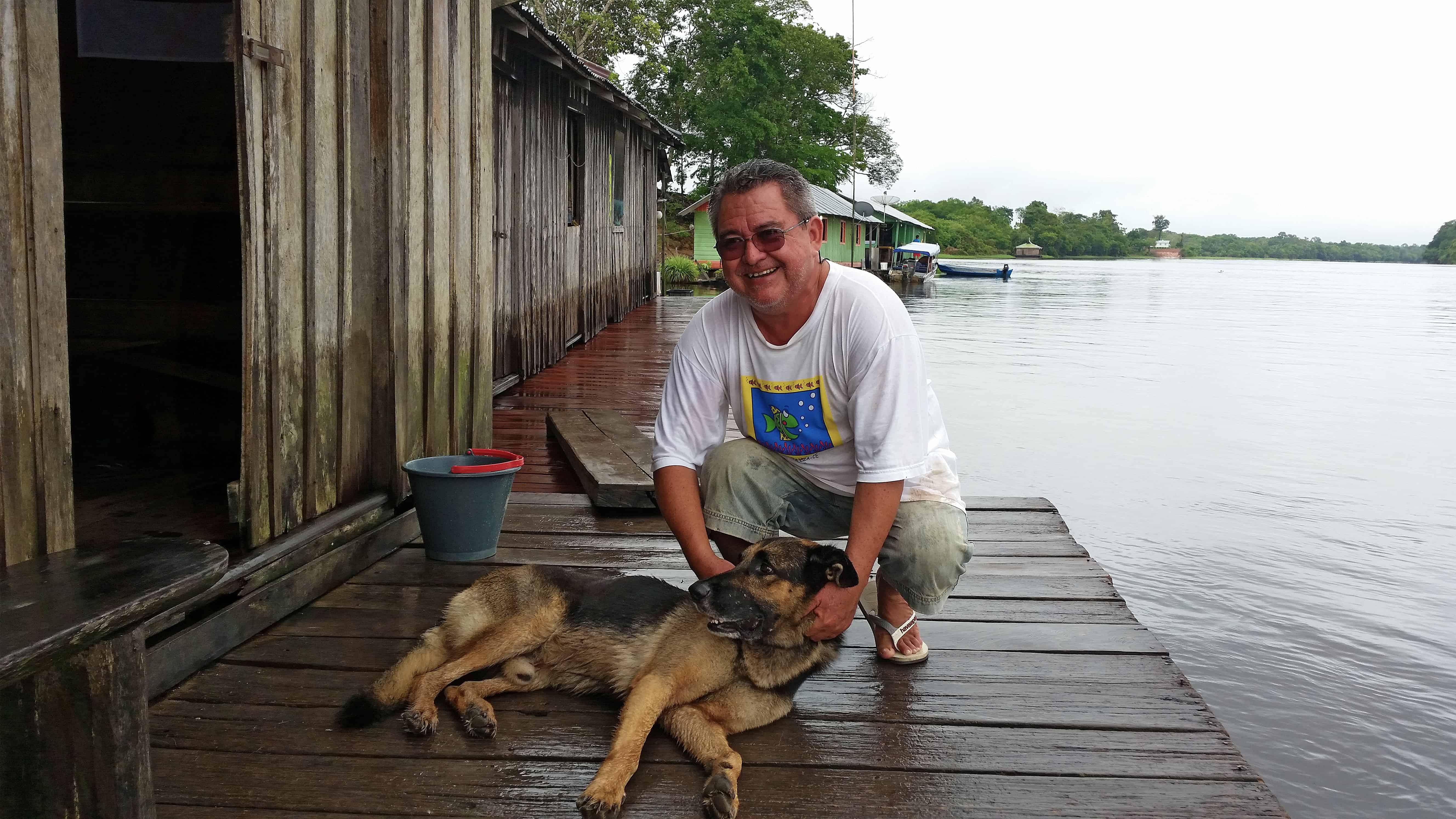 Gerry and his beloved German Shepherd Lord.