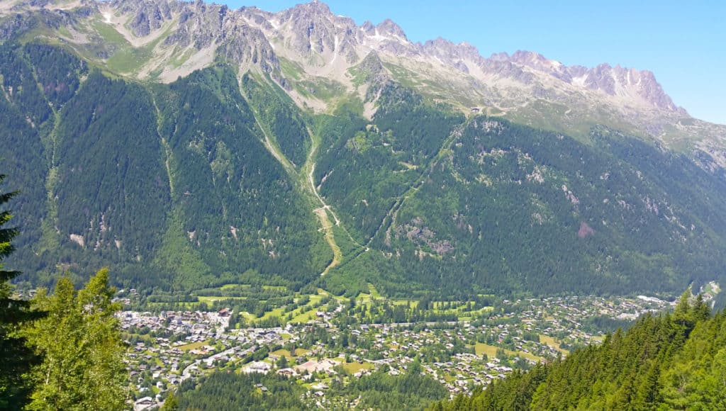 A view of Chamonix from the Montenvers train.