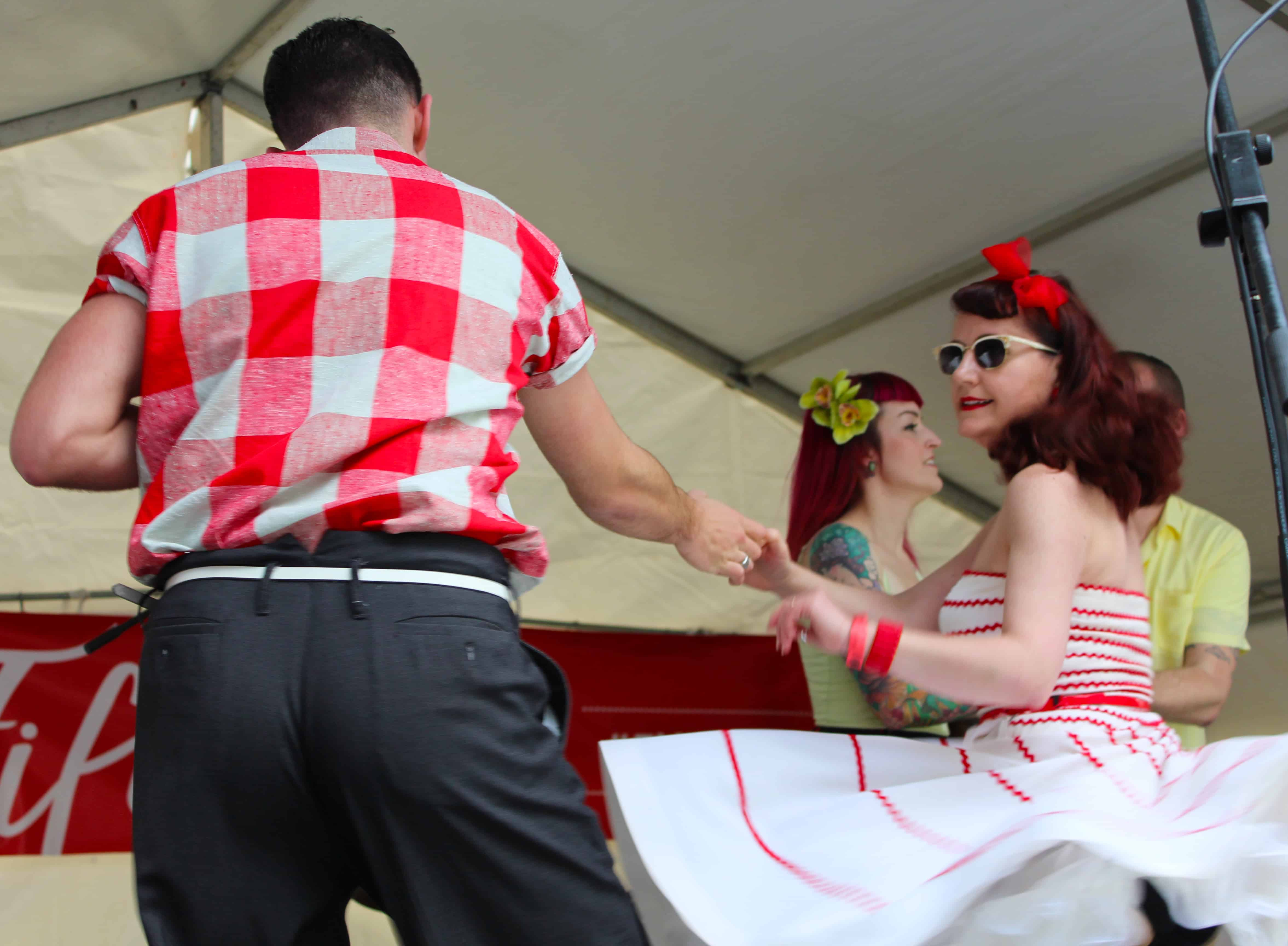 Rockabilly dancers.