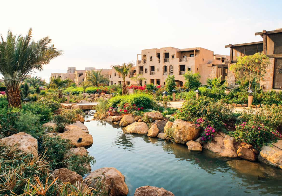 Sculpted gardens and waterways add to the appeal.