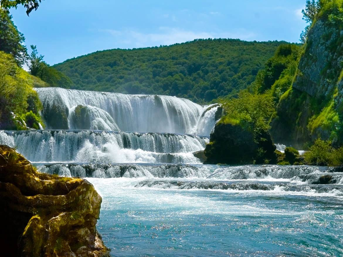 The beautiful Štrbački buk waterfall on the Una River.