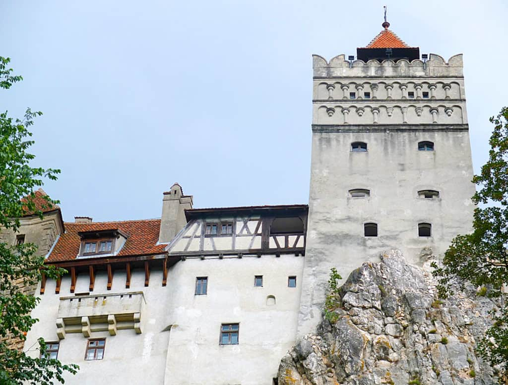 Bran Castle is mounted on an imposing rocky bluff.