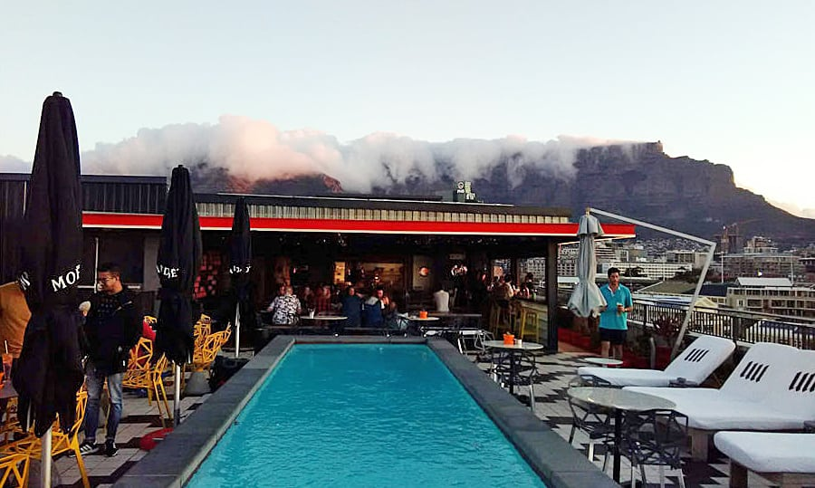 "The white ""tablecloth"" reaching over Table Mountain. Photo: Kym Bergmann"