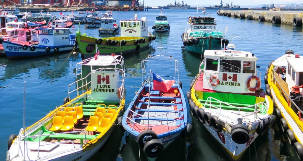 Down by the docks, the fishing boats are just as colourful.